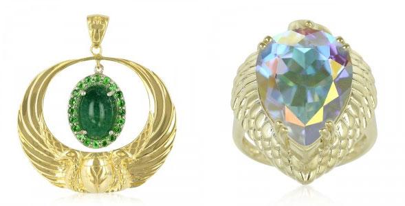 vergoldeter Silberring mit Mondlicht-Topas und Aventurin-Silberanhänger mit Tsavoriten