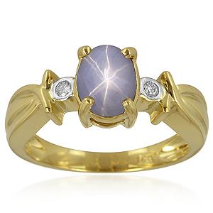 Blauer Stern-Saphir-Goldring