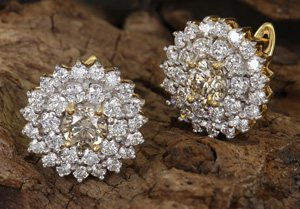 Argyle-Champagner-Diamant-Goldohrringe