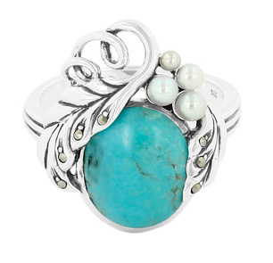 Silberring mit Türkis und Perlen