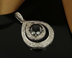 Schwarzer Diamant-Goldanhänger