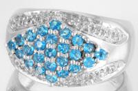 Silberring mit Neonblauen Apatiten