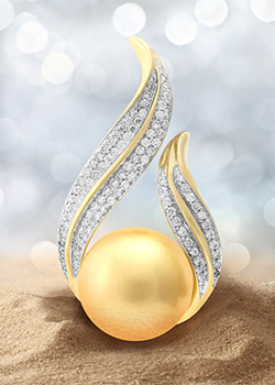Goldene Südseeperlen-Goldanhänger (TPC)