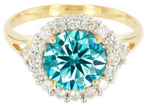 Blauer VS2-Brillant-Goldring