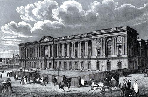 """Die Ostfassade des Louvre mit der """"Kolonnade"""", Zeichnung von 1845"""