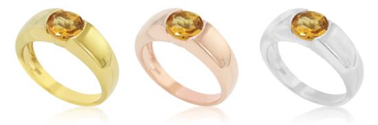 Citrin-Ringe, in Silber sowie gelb- und rosévergoldet
