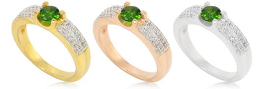 Russischer Diopsid- Ring, in Silber sowie gelb- und rosévergoldet
