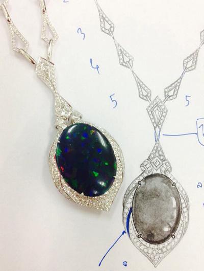 Collierentwurf mit Lightning Ridge Schwarzer Opal