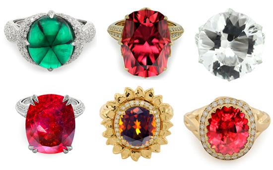 von oben links nach unten rechts: Trapiche-Smaragd, Roter Zirkon, Apophyllit, Cuprit. Bastnasit, Winza-Rubin