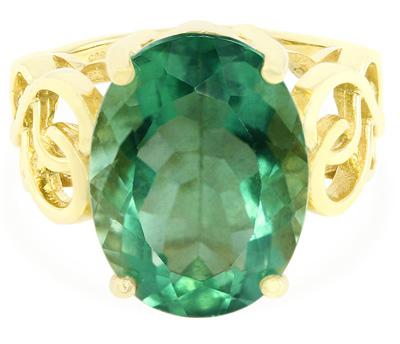 Esperanza-Fluorit-Silberring (vergoldet)