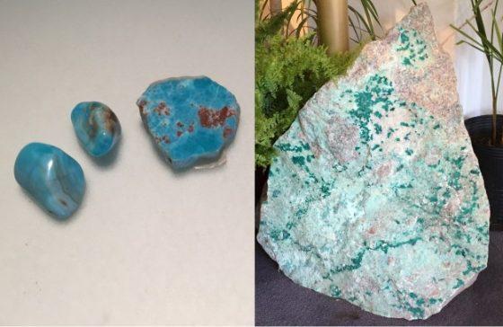 Shattuckite, Dioptas und Rhodochrosit