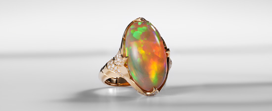 AAA-Welo-Opal-Goldring mit außergewöhnlichem Farbspiel