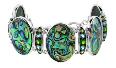 Abalone-Muschel-Silberarmband