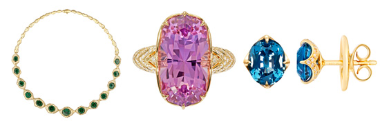 Collier mit Trapiche-Smaragden, Patroke- Kunzit -Ring und Ohrringe mit Cobaltblauen Spinellen