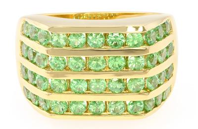 Tsavorit-Herren-Silberring (vergoldet)