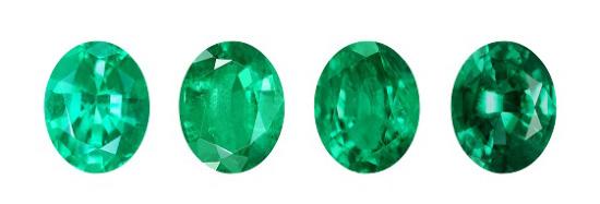 verschiedene Farben des Smaragds