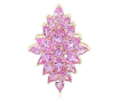 Pinkfarbener Ceylon-Saphir-Goldring der LANCE FISCHER-Kollektion