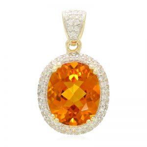 Mandarin-Citrin-Goldanhänger im Ovalschliff