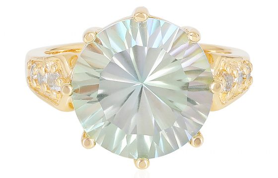 vergoldeter Silberring mit Bergsee-Quarz